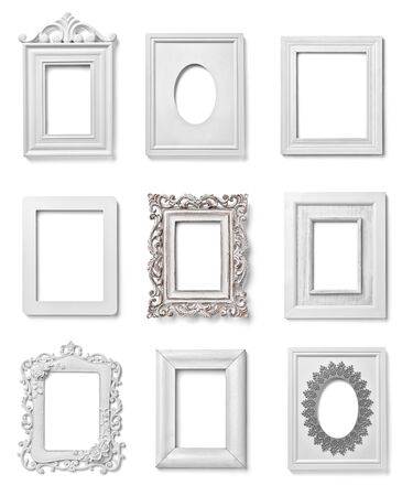 modern frame: collection of various white wood frames on white background. each one is shot separately