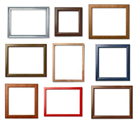marco madera: Colección de varios de madera de época marco sobre fondo blanco