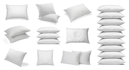 white pillow: collection of various white pillows on white background. each one is shot separately