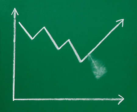 economics: close up of a business finance graph on a chalkboard