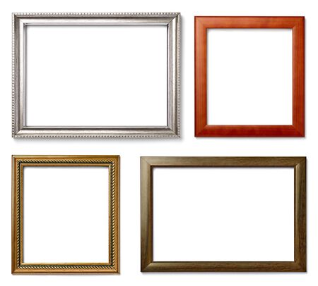 antique frames: collection of  various vintage wood frame on white background Stock Photo