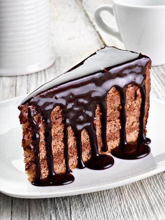 rebanada de pastel: Primer plano de un pastel de chocolate