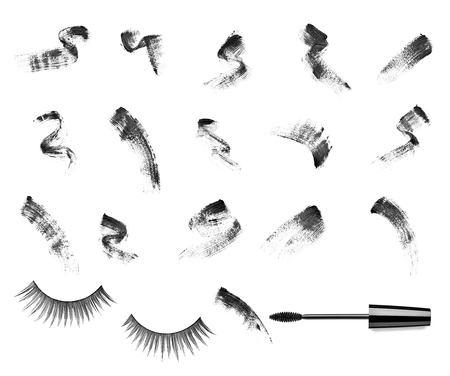 collection of a mascara shapes on white background.