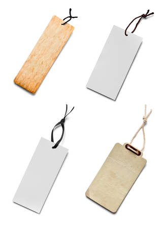 annotation: collection of various price label notes on white background. Stock Photo