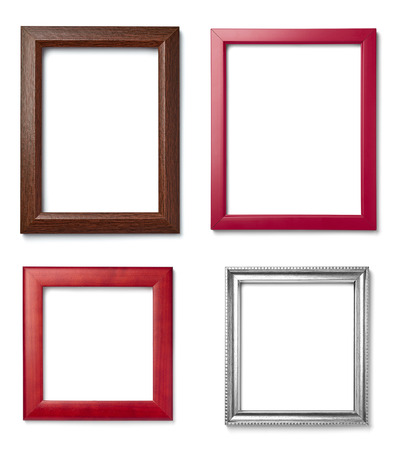 squares background: collection of  various vintage wood frame on white background Stock Photo