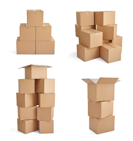 cardboard: collection of  various cardboard boxes on white background Stock Photo