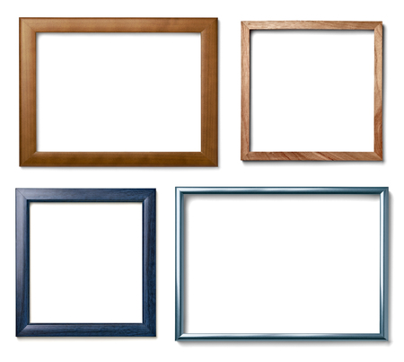 metal grunge: collection of  various vintage wood frame on white background Stock Photo