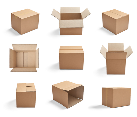 ship order: collection of  various cardboard boxes on white background Stock Photo