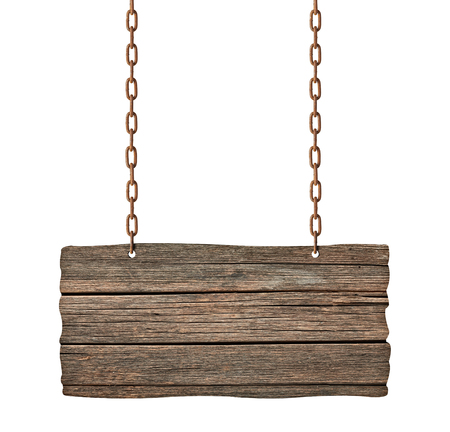 wood board: close up of an empty wooden sign on white background