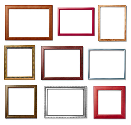 marco madera: collection of  various vintage wood frame on white background Foto de archivo