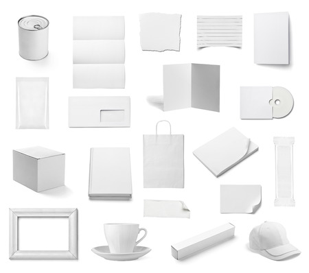 aluminium: collection of  various white business print templates on white background. each one is shot separately Stock Photo