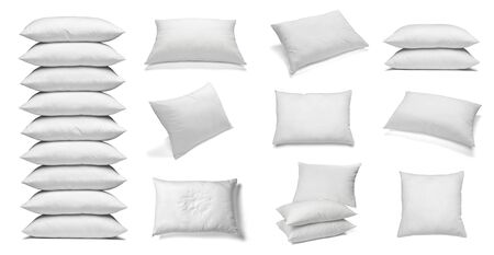cotton fabric: collection of various white pillows on white background. each one is shot separately