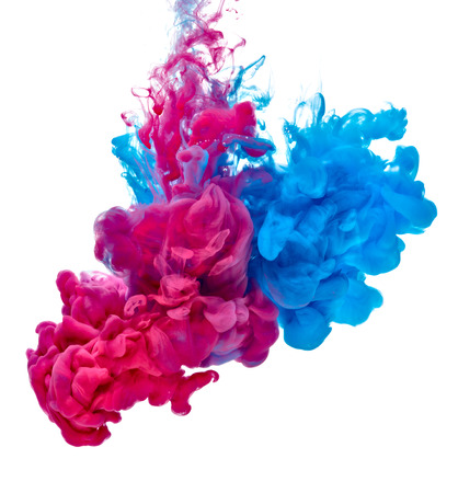 blue red paint in water