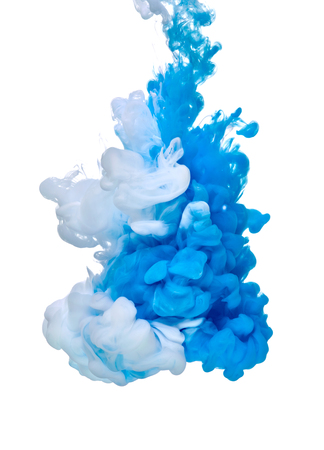 blue white paint in water