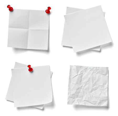 push pin: collection of various note paper with a red push pin on white background. each one is shot separately Stock Photo