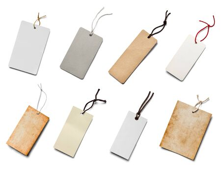 annotation: collection of  various price label notes on white background. each one is shot separately