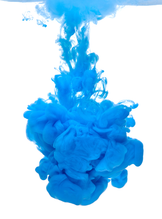 dilute: blue color paint pouring in water