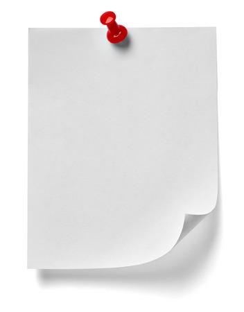 nota de papel con push pin