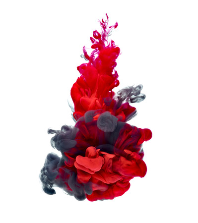 black ink: red and black paint in water Stock Photo