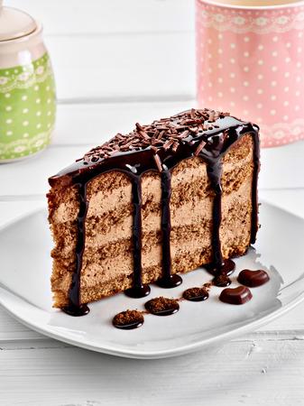 cake slice: close up of a chocolate cake