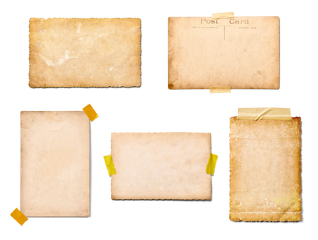 collection de divers vieilles photos sur fond blanc. chacun est tourné séparément