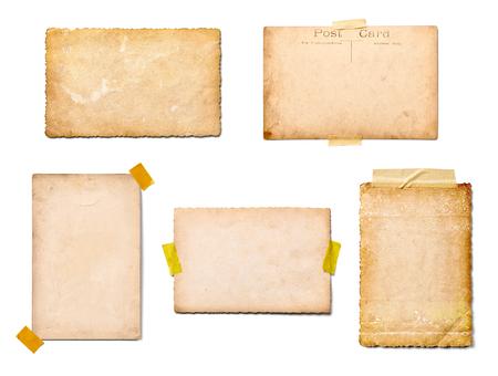 Sammlung von verschiedenen alten Fotos auf weißem Hintergrund. Jeder wird separat erschossen