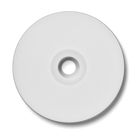 recordable media: close up of a cd dvd disc on white background