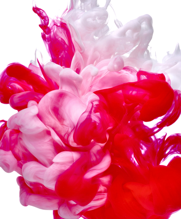 white red: red white paint in water Stock Photo