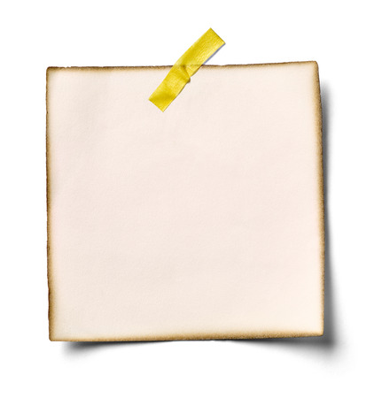 paper pin: close up of a note paper on white background