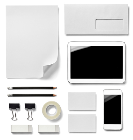 foldback: collection of  various white business print and phone, pencil, adhesive tape, foldback clip templates on white background. each one is shot separately Stock Photo