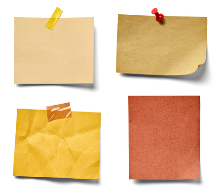 paper pin: collection of various vintage note paper on white background. each one is shot separately