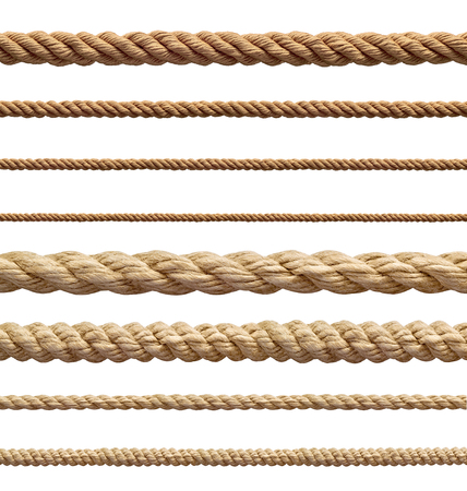 cordage: collection of  various ropes string on white background. each one is shot separately Stock Photo