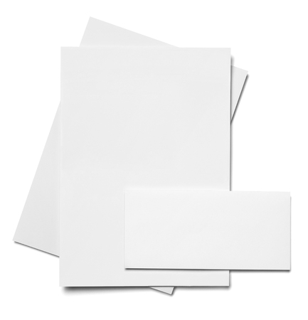 brand identity: envelope, paper and business card template on white background