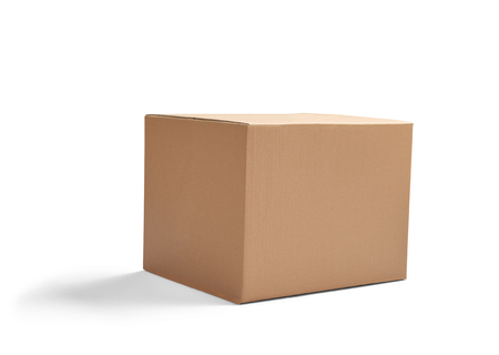 moving box: close up of  a cardboard box on white background