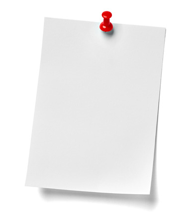 drawing pin: close up of  a note paper with a red push pin on white background Stock Photo