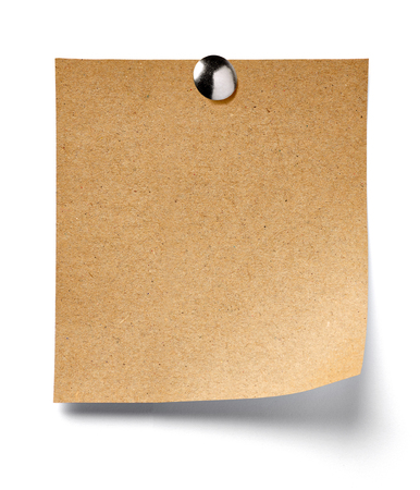drawing pin: close up of a note paper on white background