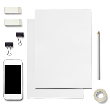 foldback: collection of  various white business print and phone, pancil, adhesive tape, foldback clip templates on white background. each one is shot separately Stock Photo