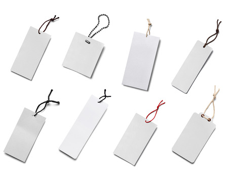 attachment: collection of  various price label notes on white background. each one is shot separately