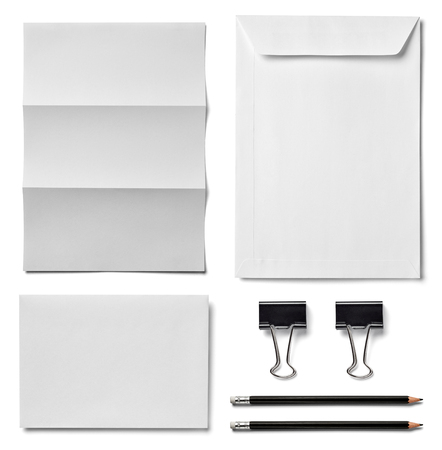 foldback: collection of  various white business print, pencil,foldback clip templates on white background. each one is shot separately Stock Photo
