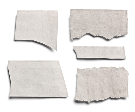 collection of various pieces of news paper on white background. each one is shot separately Stock Photo