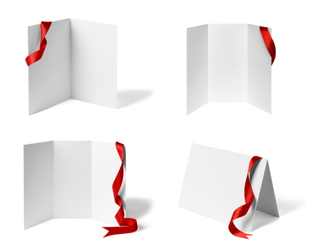 collection of various  blank folded leaflet or a desktop calendar with ribbon on white background. each on is shot separately