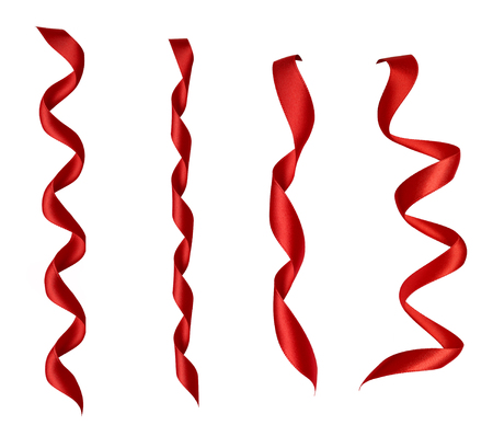 collection of  various red ribbon pieces on white background. each one is shot separately