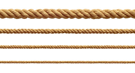collection of  various ropes string on white background. each one is shot separately 写真素材