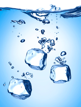 close up of ice cube splash in water on white background