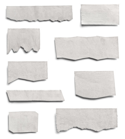 collection of various pieces of news paper on white background. each one is shot separately Stockfoto