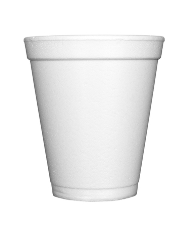 close up of styro foam plastic coffee cup on white background with clipping path