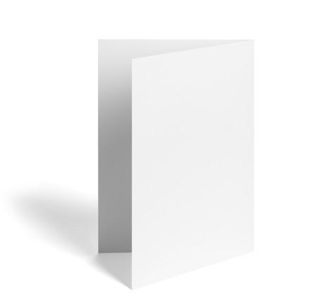 zamknąć z pustej składanej ulotki białej księgi na białym tle Zdjęcie Seryjne