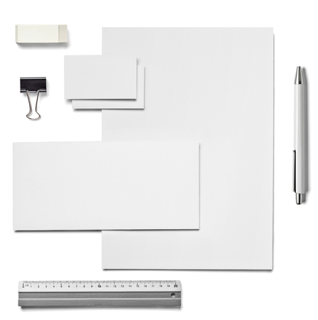 collection of  various white business print, pencil,foldback clip templates on white background. each one is shot separately 写真素材