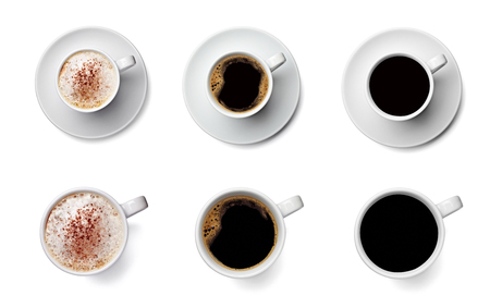 collection of various coffee cup on white background. each one is shot separately