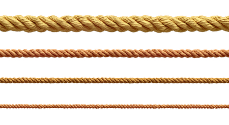 collection of  various ropes string on white background. each one is shot separately Stock Photo